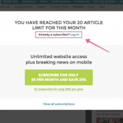 A paywall news website